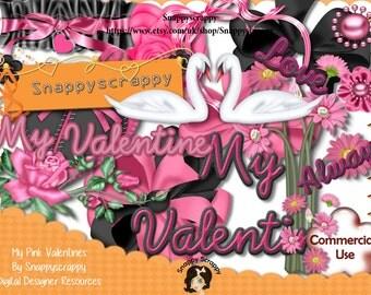 Valentines, Digital Scrap Kits, Digital Scrapbooking, Designer Resources, Instant Downloads, Digital Elements, Commercial Use, Card Making