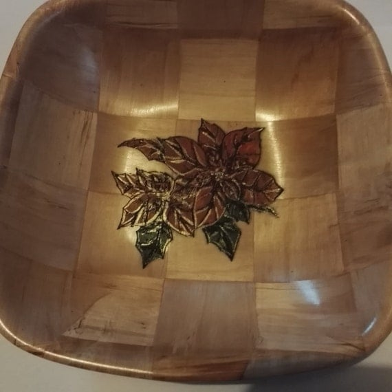 CHRISTMAS POINSETTIA hand painted NATURAL wooden bowl unique fruit /nut/ egg basket #christmas