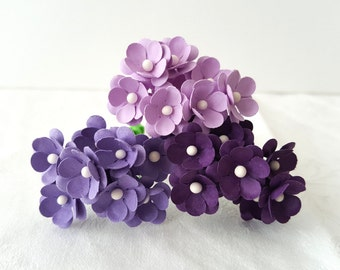 Purple Paper Flowers / Lilac paper flowers / purple flowers Set of 75 / Mixed Purple Flowers Pack / purple flower embellishments