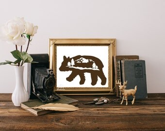 Brown Bear Printable Art Print digital Instant Download rustic art print with bear silhouette, mountains, and pine trees.