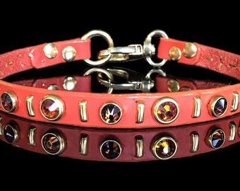 The AUTUMN Tag Holder Leather Dog Collar, for small dogs, orange, brown, copper Swarovski crystals, by Picasso Collars