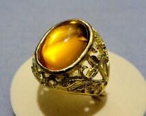 Haunted LP 711,000 Marid Djinn Talisman Ring Powerful New Arrival Magic Glassy Orange