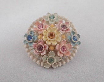 Vintage Round Multi-Coloured Flower Brooch