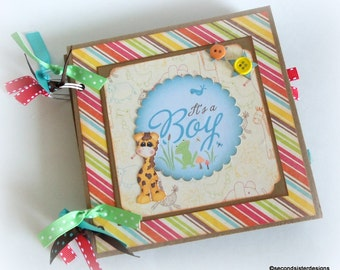It's a BOY premade 6x6 scrapbook brag book for new baby baby shower sprinkle new mom gift