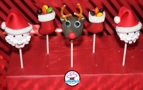 Etsy Christmas Cake Decorations : Christmas Cake Pops by ShortysCupcakes on Etsy