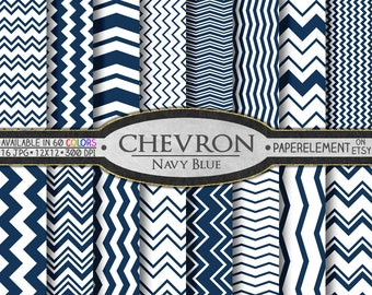 Navy Blue Chevron Digital Paper Pack - Instant Download - Digital Scrapbook Paper with Chevron Background