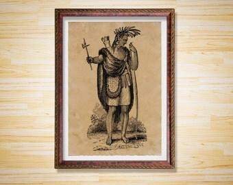 Man poster Cabin decor Native American print