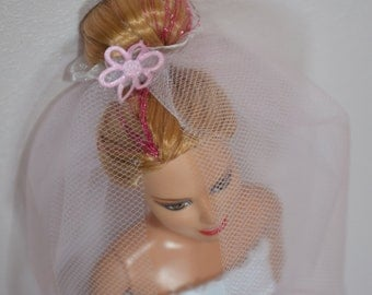 Barbie doll dress - wedding dress with veil and handbag. With Velcro.