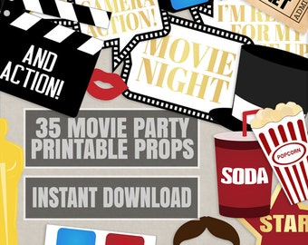 35 Movie Night Party Props, Hollywood Photo booth party prop ideas, old cinema party props, movie night in decor, oscar awards evening props