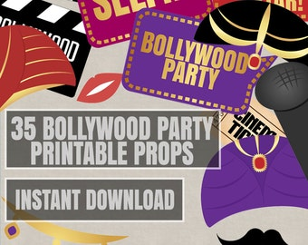 35 Bollywood Photo Booth Props, bollywood themed party props, love hindi party, photobooth sign, bhangra props, movie instant download