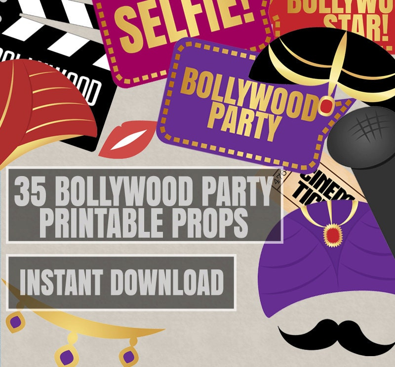 35 Bollywood Photo Booth Props bollywood themed party props