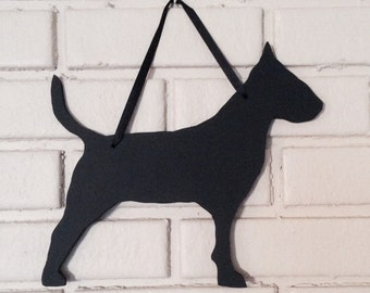 Bull Terrier Chalkboard Dog Handmade Blackboard Wall Hanging - Great Gift -  Silhouette -  Shadow Sign - Country Decoration