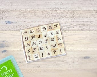 """Mini Rubber Stamp Set """"Alphabet"""" with Wooden Pegs Letterpress"""