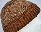Brown Hand spun, hand knit alpaca Winter Hat. Beanie, toque, watch cap, ski hat, warm, soft.