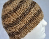 Striped, Hand Spun, Hand Knit, Alpaca Winter Hat. Warm, warm, warm beanie, toque, or watch cap in fawn and rose gray alpaca