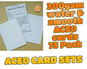 ACEO Blank Cards - 75 cards with Certificates and plastic sleeves complete set