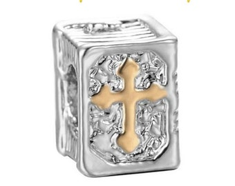 European Charm BIBLE with GOLD  CROSS Silver Bead Fits Large Hole Pandora European / Bracelets / Necklace