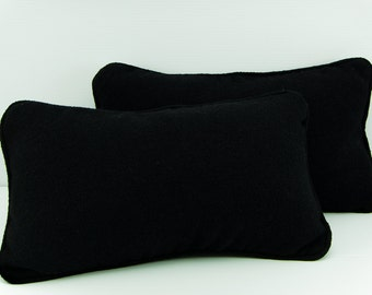 Black Pillow in Boucle Cashmere, Dupioni Silk Lining - 12 x 20