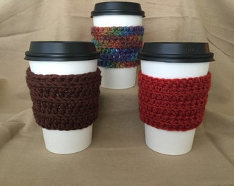 Fall Colored Handmade Crochet Coffee Cup Cozies