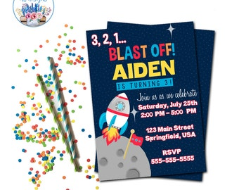 Outer Space Birthday, Outer Space Invitation, Outer Space Birthday Party, Rocket Ship Invitation