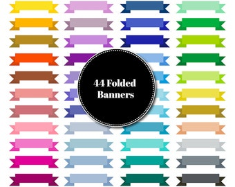 Folded Banners Clip Art | Commercial Use | Instant Download