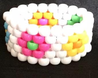 PLUR kandy rave neon rainbow cuff bracelet