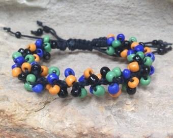 Adjustable multicolor bead hemp bracelet