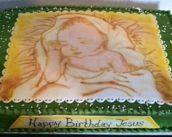 Happy Birthday Jesus Sugarpaste Cake Topper
