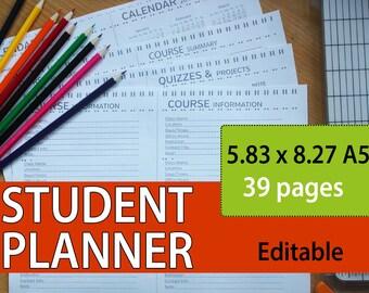 student planner 2016-2017, student planner, college student planner, academic planner, student planner, study planner, 5.83x8.27 Editable