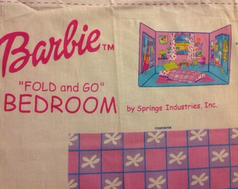 Vintage Barbie Cut and Sew Fold and Go Bedroom Fabric Panel