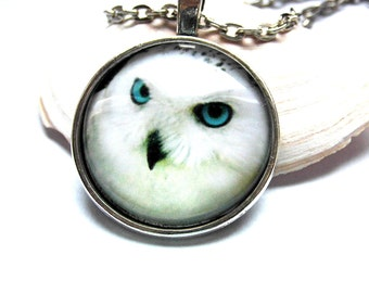 Necklace cabochon necklace snow OWL white OWL