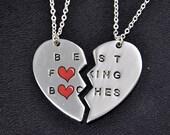 Friendship Necklace, Sisters Necklace Set, Best Friend Necklace, Best Bitches, Broken Heart Necklace, Best friend gift idea, Sisters gift
