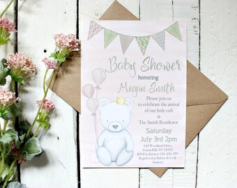 Girl Baby Shower Invitation, Watercolor Baby Shower Invitation, Pink Baby Shower Invites, Teddy Bear Baby Shower Invitation, Pink and Green