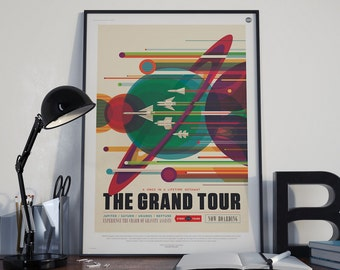 The Grand Tour, NASA/JPL Space Travel Poster, Space ,Tourism, Sci Fi Space Solar System Planets Retro Art