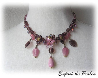 Creator necklace pink and plum Candice,
