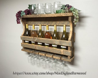 WINE RACK SHELF, with Holders For Wine Glasses, Wine Rack Wall Mounted, Wine Racks, Rustic Wine Rack, Wood Wine Rack, Wall Wine Rack