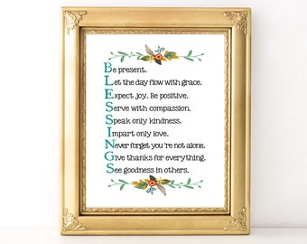 Blessings Print / Every Day Spirit / Inspirational Quote / Wall Art / Words of Wisdom / Encouraging Quote / Dorm Decor / Various Sizes