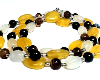 Sunny summer long agate yellow white brown bead necklace double multi strand color, mother, mother necklace, mother's day gift for mom