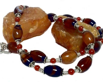 Short red brown carnelian agate gemstone bead necklace beaded choker, mother necklace, mother's day gift for mom