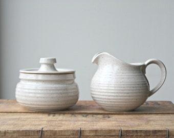 Studio Pottery Sugar Bowl and Creamer