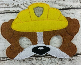 Construction Dog Children's Mask Rubble inspired Paw Patrol inspired Costume Theater Dress Up Hallowen Children's Pretend Play