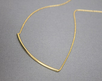 Gold Bar Necklace . Simple and Stylish Necklace . Bridesmaid Gift Bridesmaid Necklace Dainty and Delicate Necklace