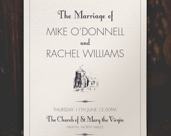 Traditional Order of Service on textured paper