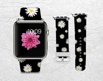 Apple Watch Band for Series 1 Series 2, Leather Strap Wrist Band with Metal Clasp 38mm 42mm Adapter connector - Daisy Floral flowers -P36