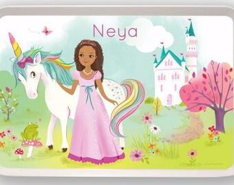 KIDS TRAY - Personalized Princess, Unicorn melamine tray for kids