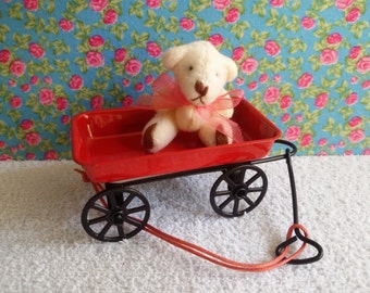 Metal trolley with Teddy for Blythe and Dolls