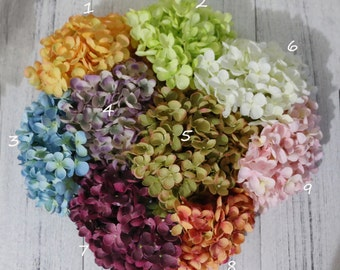 Silk Flowers-One Large Hydrangea Head- 170 Blossoms- Artificial Hydrangea for Head Piece and Wedding Decor