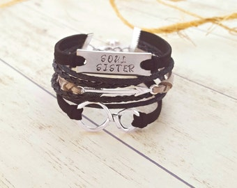 Soul Sister Bracelet , Soul Sister Jewelry, Hand Stamped Bracelet, Arrow Bracelet, Infinity Bracelet, Sister Gifts, Sister Jewelry