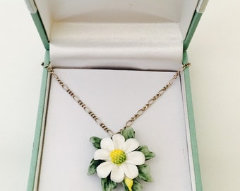 "Vintage Porcelain ""Daisy Chain"" Flower Necklace. Daisy flower on sterling silver chain. Handpainted porcelain flower pendant."