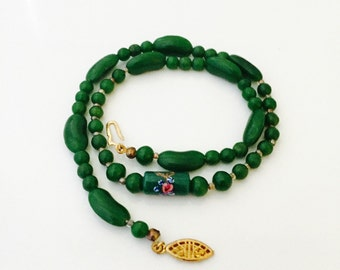 Vintage Green Glass Single Bead Necklace